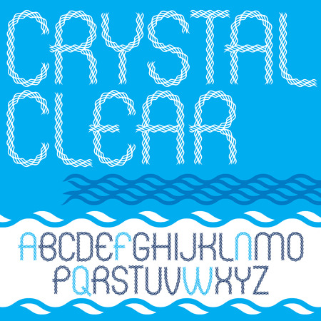 Set of vector narrow upper case English alphabet letters isolated created using abstract rhythmic wave lines. Crystal clear.