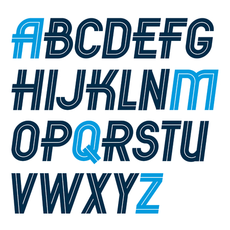 Set of vector regular upper case English alphabet letters made with white lines, for use as design elements for press and blogging. Illusztráció