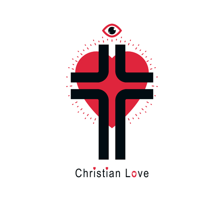 True Christian Love and Belief in God,  creative symbol design, combined Christian Cross and heart.