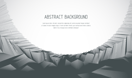 Line art 3d abstract vector background with geometric linear terrain surface of fantastic cosmic planet landscape, science fiction illustration. Usable as template for layout with copy space for title and text. Ilustração Vetorial
