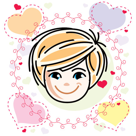 Cute girls face, human head. Vector blonde character, smiling girl face features.