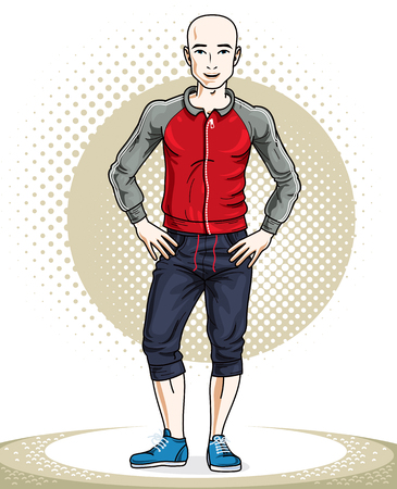 Handsome hairless young man posing. Vector illustration of sportsman. Work out and training theme.  イラスト・ベクター素材