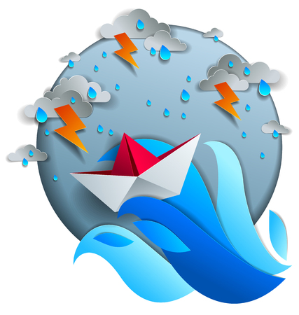 Origami paper ship toy swimming in thunderstorm with lightning, dramatic vector illustration of stormy rainy weather over ocean with toy boat struggles to survive. 矢量图像