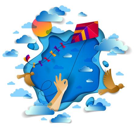 Mano sosteniendo cometa sobre cielo nublado pájaros volando y sol, libertad y facilidad concepto emocional, vector corte de papel de estilo moderno ilustración 3d.