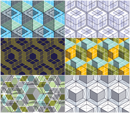 Geometric 3d lines abstract seamless patterns set, vector backgrounds cubes collection. Technology style engineering line drawing endless colorful illustration. Usable for fabric, wallpaper, wrapping.