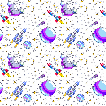 Seamless space background with rockets, planets and stars, undiscovered deep cosmos fantastic and breathtaking textile fabric for children, endless tiling pattern, vector illustration cartoon motif.
