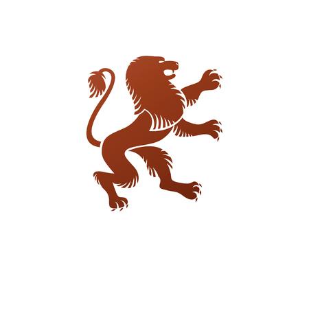 Élément d'emblème antique d'animal de lion. Élément de conception de vecteur héraldique. Vecteurs