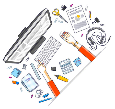 Office employee or entrepreneur work desk workplace with hands and PC computer and diverse stationery objects for work, top view. All elements are easy to use separately. Vector illustration. Ilustrace