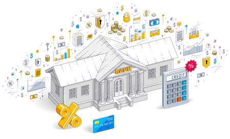 Concetto di credito, edificio bancario con calcolatrice e simbolo di percentuale isolato su sfondo bianco, tema bancario. Illustrazione isometrica di affari di vettore 3D con icone, grafici statistici ed elementi di design.