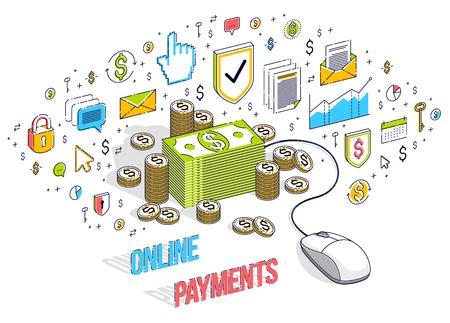 Concept de financement en ligne, paiements Web, gains sur Internet, services bancaires en ligne, piles d'argent avec souris d'ordinateur. Illustration de finances vecteur 3d isométrique avec des icônes, des graphiques de statistiques et des éléments de conception.