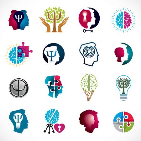 Conjunto de iconos conceptuales de psicología, cerebro y salud mental. Problemas y conflictos de psicología de las relaciones y de género, psicoanálisis y psicoterapia, personalidad e individualidad. Ilustración de vector
