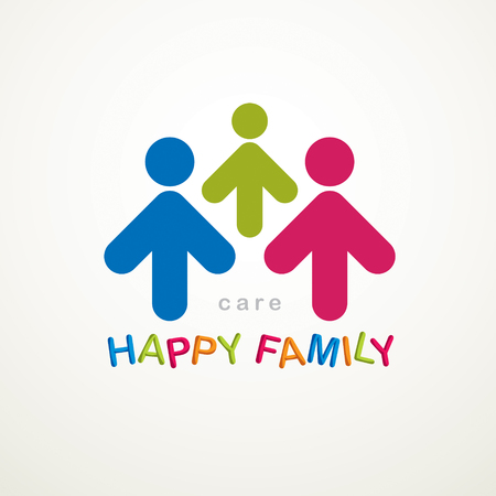 Happy family simple  icon created with people geometric signs. Tender and protective relationship of father, mother and child. Ilustração