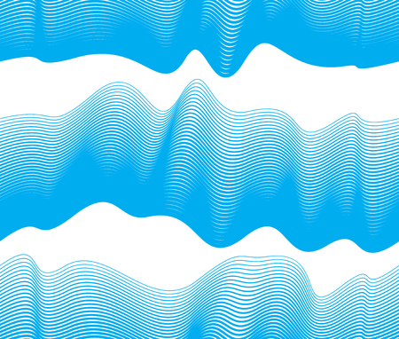 Waves seamless pattern, vector water runny curve lines abstract repeat endless background, blue color rhythmic waves.