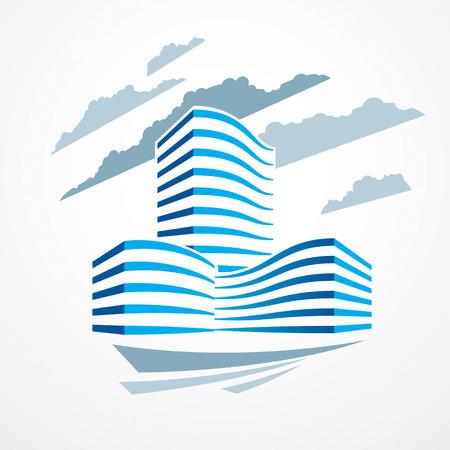 Immeuble de bureaux, illustration vectorielle d'architecture moderne. Conception de centre d'affaires immobilier immobilier. Façade futuriste 3D dans la grande ville. Peut être utilisé comme logo ou icône. Banque d'images - 109194376