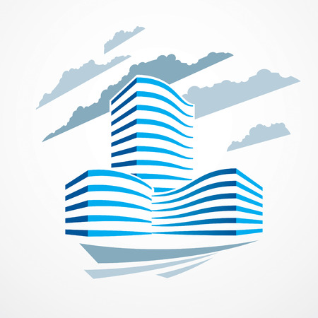 Immeuble de bureaux, illustration vectorielle d'architecture moderne. Conception de centre d'affaires immobilier immobilier. Façade futuriste 3D dans la grande ville. Peut être utilisé comme logo ou icône.