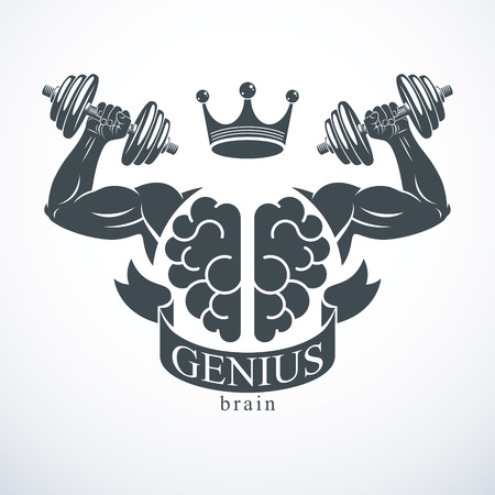 Power Brain emblem, genius concept. Vector design of human anatomical brain with strong bicep hands of bodybuilder. Brain training, grow IQ, mental health. Illustration
