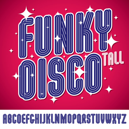 Vector funky tall capital alphabet letters collection, for use in logo design for nightclub advertising.