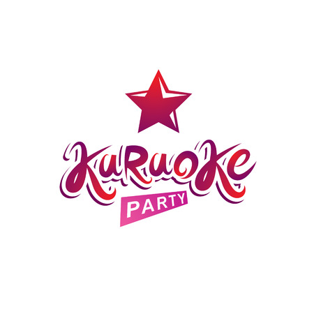 Karaoke party vector inscription, leisure and relaxation lifestyle emblem.