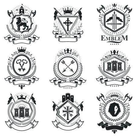 Compositions d'emblèmes décoratifs vintage, vecteurs héraldiques. Collection d'illustrations symboliques de haute qualité, ensemble de vecteurs.