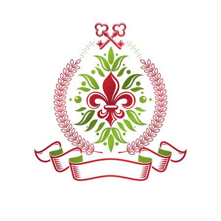 Insigne vectoriel héraldique vintage composé du symbole royal de la fleur de lys et des clés de sécurité. Illustration du thème de la protection de l'environnement, sauvegarde de l'écologie et de l'élément de conception de la nature.