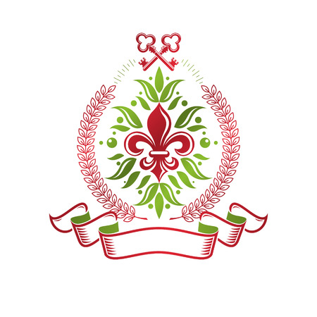 Vintage heraldic vector insignia composed with lily flower royal symbol and security keys. Environment protection theme illustration, save ecology and nature design element.
