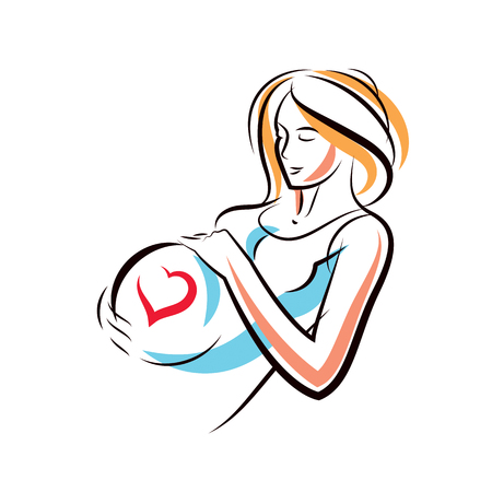 Pregnant woman graceful body outline surrounded by heart shape frame. Vector illustration of mother-to-be fondles her belly. Happiness and caress concept. Illustration