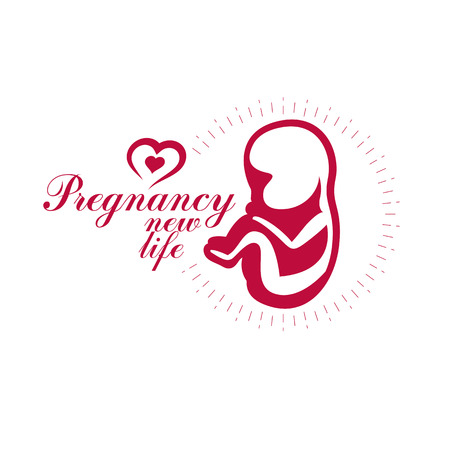 Vector embryo emblem. New life beginning drawing. Reproduction clinic conceptual logo