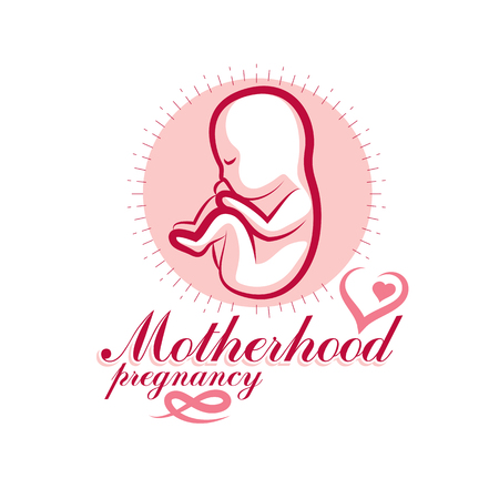 Vector embryo emblem. New life beginning drawing. Gynecology and pregnancy medical care clinic conceptual emblem Illustration