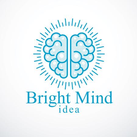 Bright Mind Vektor-Logo oder Symbol mit menschlichem anatomischem Gehirn. Denk- und Brainstorming-Konzept.
