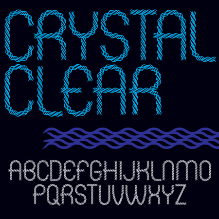 Set of vector narrow capital alphabet letters isolated created using elegant flowing lines, crystal clear style. Çizim
