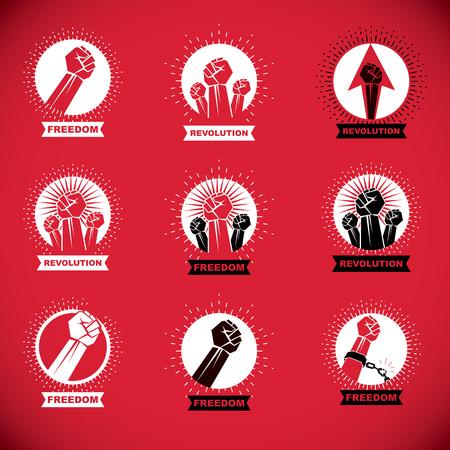 Illustrazione vettoriale creata con i pugni chiusi di uomini forti. Persone che manifestano, lottano per i loro diritti e la libertà.