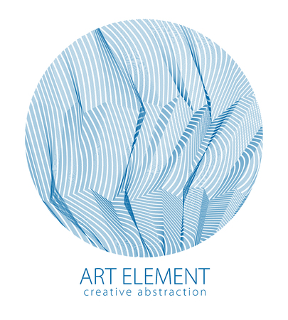 Beautiful art element, linear texture of surface or textile in a shape of circle. Vector abstract 3d perspective background for layouts, posters, banners, print and web. Cool and motional.