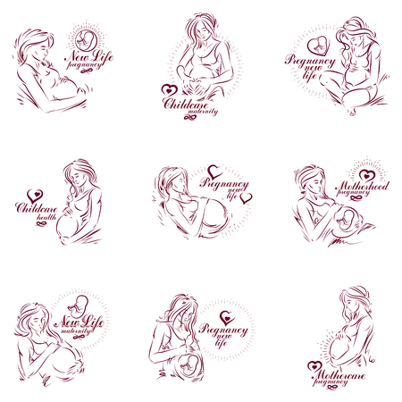 Pregnant woman elegant body silhouettes collection, sketchy vector illustration. Prenatal center and motherhood preparing clinic promotion flyer