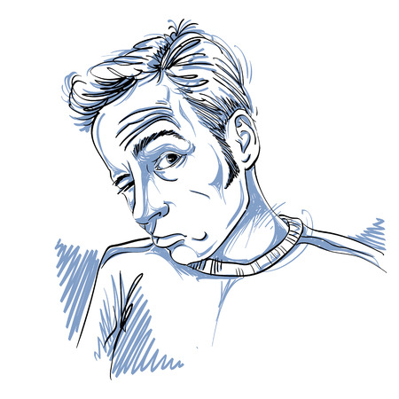 Vector drawing of drunk man or gambler with wrinkles on his forehead. Black and white portrait of tricky guy. 일러스트