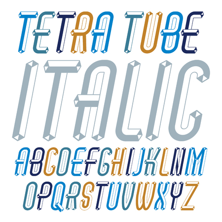 Vector trendy modern capital, uppercase alphabet letters collection. Unlike italic condensed type font, script from a to z can be used for logo creation. Created using dimensional tetra pipe.