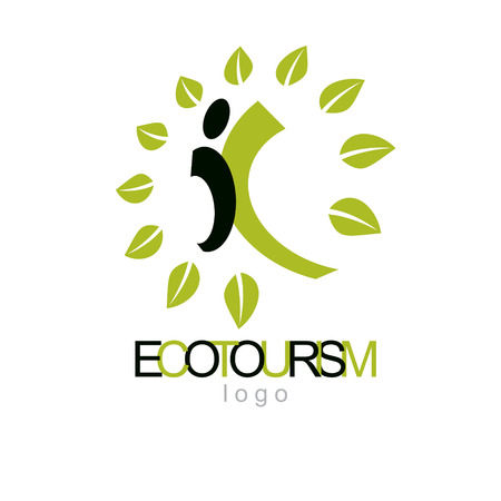 Vector illustration of joyful abstract individual with raised hands up. Ecotourism conceptual logo. Green tourism symbol. Wanderlust and countryside vacation icon.  イラスト・ベクター素材