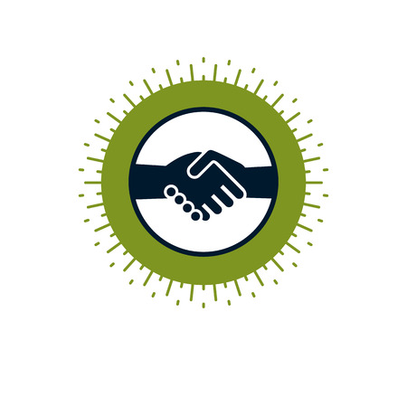 Handshake two hands business deal and friendship sign, vector icon. Illustration