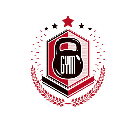 Bodybuilding weightlifting gym logotype sport template, vintage style vector emblem. With kettlebell. Ilustração