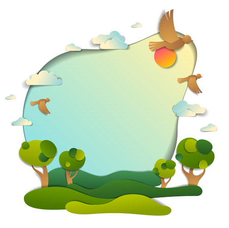 Green fields and trees scenic landscape of summer with clouds birds and sun in the sky, frame background with copy space, paper cut illustration, holidays in countryside, travel and tourism theme.