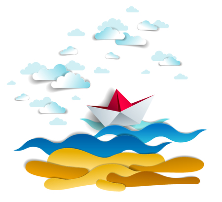 Origami paper ship toy swimming in ocean waves, beautiful vector illustration of scenic seascape with toy boat floating in the sea and clouds in the sky. Water travel, summer holidays.