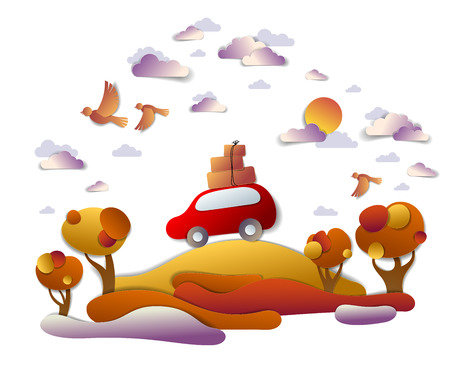 Car travel and tourism in autumn, red minivan with luggage riding off road in orange fall meadows among trees, birds and clouds in the sky, paper cut vector illustration of auto in scenic landscape.