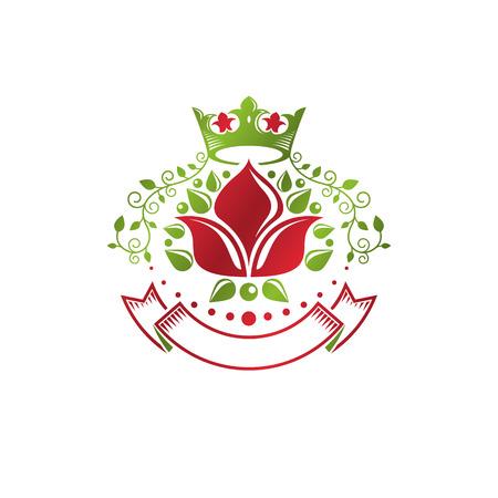 Insigne vintage rétro créé avec une fleur de lys et une couronne impériale. Élément de conception d'idée de qualité de produit vectoriel, Fleur-De-Lis. Vecteurs