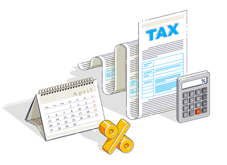 Taxation concept, tax form or paper legal document with and calendar opened on April month isolated on white background. Isometric vector business and finance illustration, 3d thin line design. Vecteurs