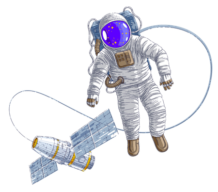 Spaceman flying in open space connected to space station, astronaut man or woman in spacesuit floating in weightlessness and spacecraft behind him. Vector illustration isolated over white. Ilustração