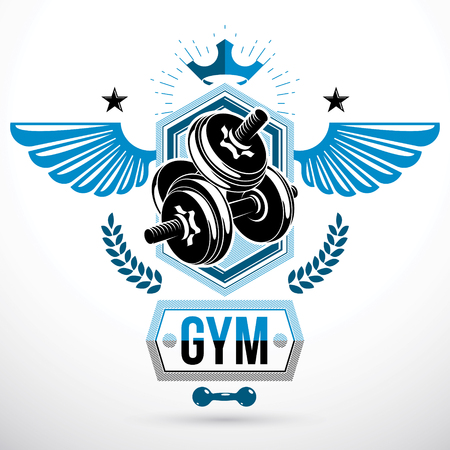 Vector winged graphic symbol created with disc weight dumb-bell and royal crown. Sports club emblem
