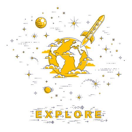 Planet Erde im Weltraum, umgeben von Sternen, Raketen, Asteroiden und anderen Elementen. Kleine Erde im endlosen Kosmos. Dünne Linie 3d Vektorillustration lokalisiert auf Weiß. Vektorgrafik