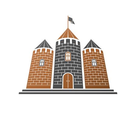 Illustration vectorielle isolée décorative forteresse médiévale. Étiquette de style rétro, illustration héraldique. Logotype de la citadelle ornée sur fond blanc isolé.