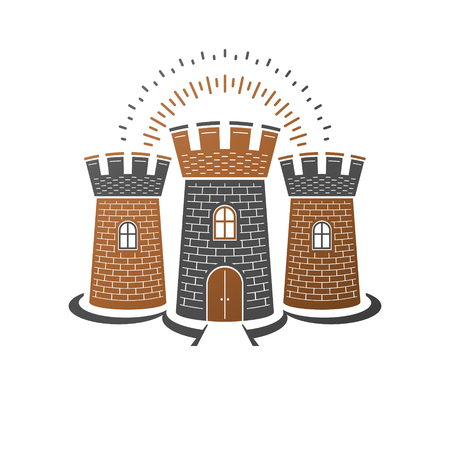 Medieval fortress decorative isolated vector illustration. Ornate Citadel logotype on isolated white background.