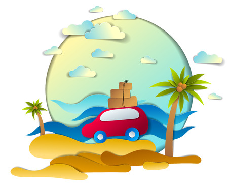 Red car with baggage in scenic seascape with beach and palms, waves, clouds in the sky, paper cut style vector illustration of summer holidays travel and tourism, family or friends.