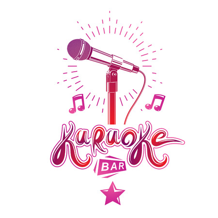 Karaoke bar lettering, conceptual emblem composed using microphone multimedia audio equipment and musical notes. Live music concert theme.